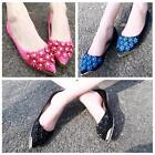 Women Flower Flat Shoes Casual Ballerina Ballet Pointed Toe Pregnant Shoe - LD