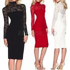 Womens Lace Long Sleeve Bandage Bodycon Evening Cocktail Party Midi Pencil Dress