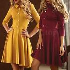 Fashion Women Casual Long Sleeve Skater Party Evening Cocktail Short Mini Dress