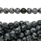 "16"" Strand Snowflake Obsidian Natural Round Gemstone Beads  ~  4mm ,6mm or 8mm"