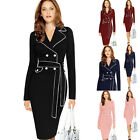 New Autumn Women's Vintage Plus Size Sexy Long Sleeve Lapel Collar Formal Dress