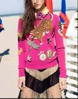 2016 Autumn New Runway Hot High-End Dragonfly Beading Tiger Embroidery Sweaters