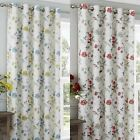 EYELET LINED CURTAINS READY MADE RINGTOP MACHINE WASHABLE ANYA RED DUCK EGG