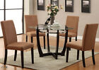 5PC MODERN WINSTED ROUND GLASS DINING TABLE SET w/ SADDLE...
