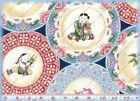 Northcott Ro Gregg CHINA DOLL BLUE TOILE Cotton Quilting Sewing Fabric 1-3 yds