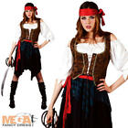 Caribbean Pirate Ladies Fancy Dress Halloween Buccaneer Womens Costume Outfit