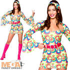 Retro Go Go Girl Ladies Hippie Fancy Dress 60s 70s Hippy Womens Adults Costume