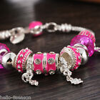 1PC Silver Plated European Charms Drip Beads Snake Chain Bracelet 21cm