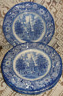 Staffordshire Liberty Blue 4 Dinner Plates Transferware Independence hall