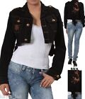 Black Fishtail Butterfly Embroidered Back Cropped Bolero/Shrug/Cover Jacket