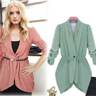 WOMEN OFFICE RUFFLE IRREGULAR COAT CASUAL LONG SLEEVE ONE BUTTON SUIT IDEAL