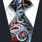 A26 Mens Necktie Extra Long Size Brown 100% Silk Paisley Silver Fashion Floral
