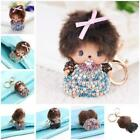 Girls Monchhichi Key Chain Fashion Doll Purse Rhinestone Car Ring Pendants LA