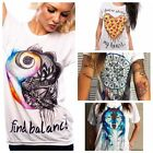 Summer Women Short Sleeve Vintage Lady Printed T Shirt Casual Tops Loose Blouse
