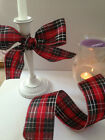 TARTAN Vivid Red, Silver & Grey 63mm Scotland - Luxury Wire Edged Ribbon - 1.5m