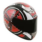 Box Bx-1 Motorcycle Scooter Motorbike Full Face Helmet Scope Red White Black