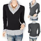 Beautiful V-Neck Collared Built-in Striped Career Shirt Blouse Top Plus Sizes