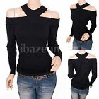 Unique Black Knit Off Shoulders Long Sleeves Blouse Top