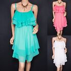 Elegant Chiffon Tiered Tunic Casual Sleeveless Summer Dress Plus Sizes