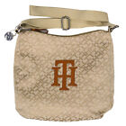 Tommy Hilfiger Handbag Womens Purse Beige Bag Jacquard Strap Zipper Th New