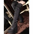 New Women's Leather Wedge Buckle Over The knee Boots Nightclub Lace Up Shoes