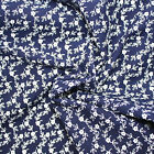 DAISY CHAIN NAVY  100% COTTON LAWN DRESSMAKING FABRIC -  FLOATY DELICATE PREMIUM