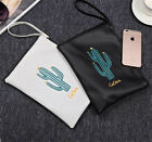 Fashion New Women Female Handbag Purse Cactus Printing PU Leather Cosmetic Bag