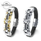 MENDINO Men's Stainless Steel Leather Bracelet Cable Wire Cuff CZ Braided Bangle
