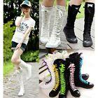 PUNK EMO Girl Shoes Canvas Boots Zip Lace Up Great Come Knee High Sneaker Pumps