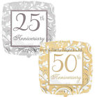 "17"" Silver 25th or Gold 50th Anniversary Foil Helium Balloon Party Decorations"