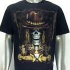 g3 Rock Chang T-shirt Tattoo Skull Glow in Dark Cowboy Sheriff Bullet Cotton Tee