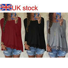 Womens Sexy Long Sleeve Plus Size Lace T-Shirt Blouse Ladies Casual Loose Tops
