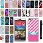 For HTC Desire EYE Various Design TPU SILICONE Soft Protective Case Cover + Pen