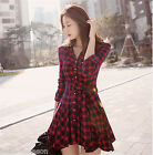 Womens Girls Fashion Long Sleeve Spring Autumn Skirt Slim Red  Dress HQ