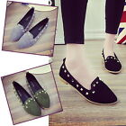 Chic Women Rivet Ballet Pointed Toe Shoes Slip On Loafers Shoes Footwear