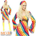 Rainbow Hippie Ladies Fancy Dress 1960s-1970s Hippy Womens Costume Outfit 8-22
