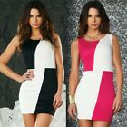 Lady's Block Contrast Colour Cocktail Evening Party Ball Mini Clubwear Dress