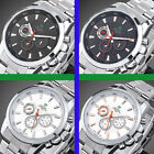 44mm Weide Stainless Steel Sports 6 Hand Date Day Quartz Wrist Watch NIGHTLIGHT