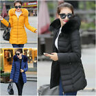 2016 Womens Winter Coat Jacket Down Padded Fur Collar Warm Long Hooded Outwear