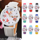 Women Fashion Kids Faux Leather Quartz Santa Claus & Elk Christmas Wristwatch