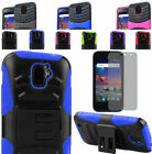 Tempered Glass+2Layer Rugged Hybrid U-Case Cover w/Stand For ZTE Citrine LTE 4G