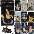 1pc Pikachu Pokemon Magnetic Flip Cover Wallet PU Leather Case For Iphone 7 Plus