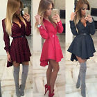 Fashion Womens Long Sleeve Pokla Dot Skirt Dress Ladies Party Mini Shirt Dress