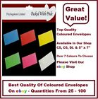 COLOURED ENVELOPES - C5, C6, DL, 5x7 - CHOOSE FROM 6 COLOURS - GREETING CARDS