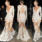 Women Evening Party Mermaid Bridesmaid Prom Gown Long Sleeve Wedding Dress