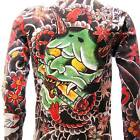 ls3 Japanese Irezumi Tattoo Long Sleeve T-shirt Oni Hannya Mask Indie Men Soft