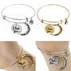 New Charm Adjustable Expandable Wire Bangle Bracelet Crescent Pendant Jewelry