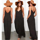 1pc Sexy Summer Spaghetti Strap Chiffon Boho Beach Polka Dot Maxi Dress Sundress