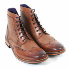 Ted Baker Men's Sealls 3 Leather Lace Up Brogue Ankle Boot Tan