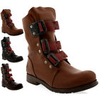 Womens Fly London Stif Pull On Buckle Military Biker Leather Ankle Boots UK 3-9